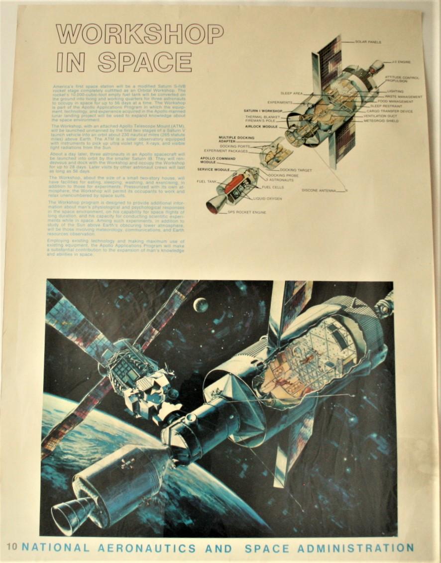 """Lot 9 - Affiche # 10 de la NASA de l'époque d'APOLLO XI """"WORKSHOP IN SPACE"""", ca 1969, bon [...]"""