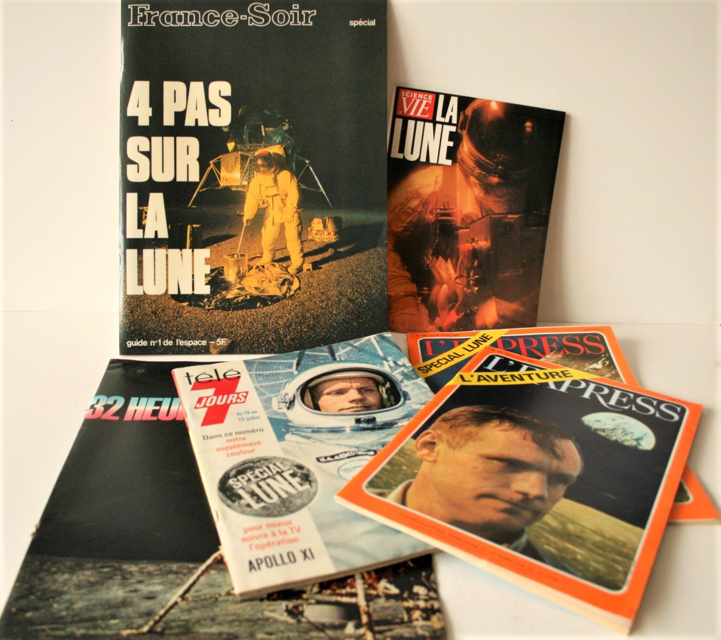 Lot 4 - Ensemble de 5 magazines français parus durant la mission APOLLO XI en juillet 1969 [...]
