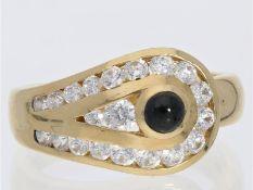 Ring: dekorativer goldener Damenring mit Onyx und farblosen SteinenCa. Ø18mm, RG57, ca. 5,9g, 14K