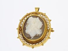 Brosche/Anhänger: Antikschmuck mit seltener Kamee, hochwertige Handarbeit aus 14K Gold, 19.