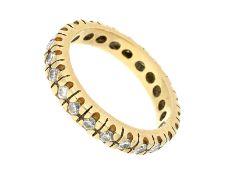 Ring: klassischer Brillant-Memoire-Ring in 14K Gold, 1ct feine BrillantenCa. Ø18mm, RG56, ca. 4,