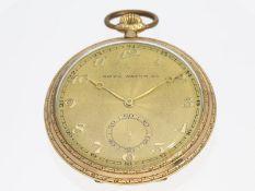Taschenuhr: goldene Art déco Frackuhr, Tavannes, 30er JahreCa. Ø51mm, ca. 75g, 14K Gold, dekoratives