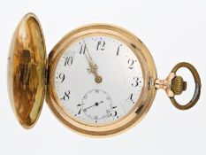 Taschenuhr: rotgoldene Savonnette, um 1900, System GlashütteCa. Ø52mm, ca. 87g, 14K Gold, alle 3