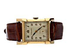 Armbanduhr: ausgefallene und seltene Longines Herrenuhr im hochwertigen 14K Goldgehäuse, ca. 1947Ca.
