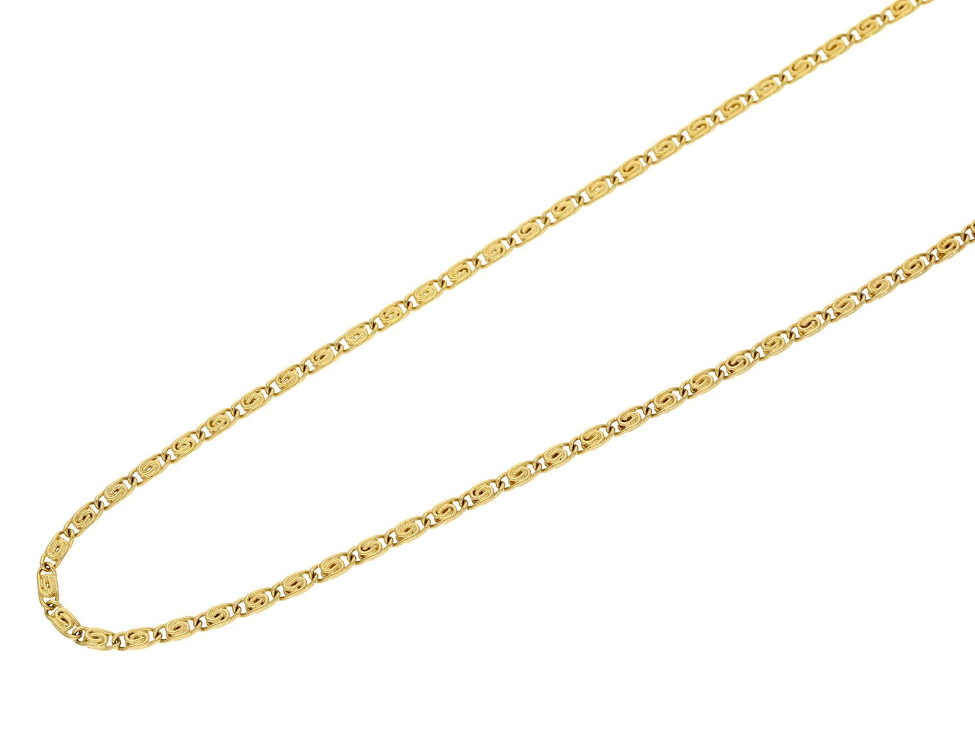 Kette/Collier: lange goldene CollierketteCa. 70cm lang, ca. 10,6g, 14K Gold, ca. 2mm breit,