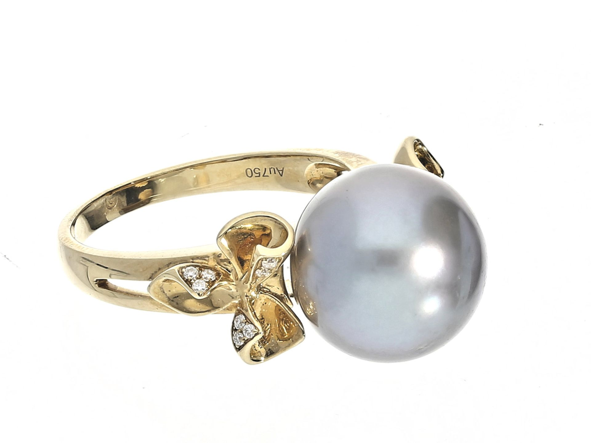 Ring: sehr schön gearbeiteter Goldring mit Tahitiperle und Brillanten, ungetragener Goldschmiede- - Bild 2 aus 2
