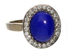 Ring: ehemals teurer vintage Goldschmiedering mit Lapislazuli und BrillantenCa. Ø18mm, RG56, ca. 8,