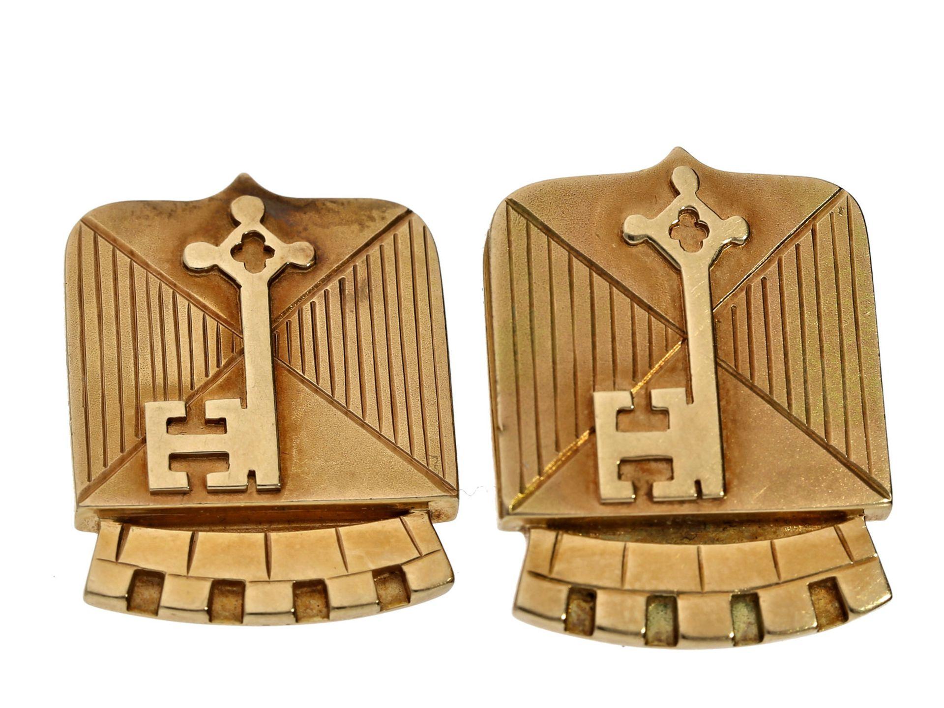Manschettenknöpfe: außergewöhnliche vintage Manschettenknöpfe mit Darstellung des Stadtwappens von - Bild 2 aus 2