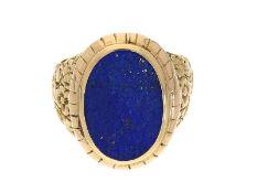 Ring: sehr dekorativer Goldschmiedering mit Lapislazuli, 14K GoldCa. Ø20,5mm, RG64, ca. 16,5g, 14K