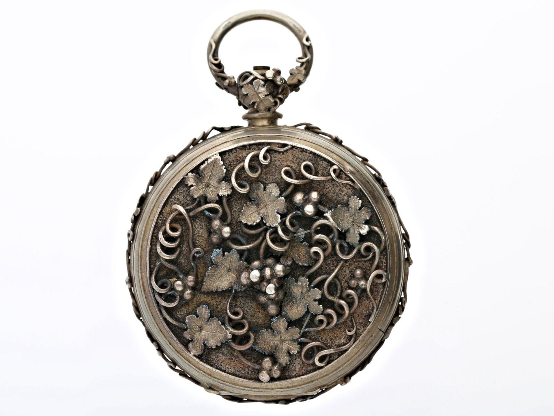 Taschenuhr: einzigartige und besonders prächtige Jugendstil-Relieftaschenuhr mit - Bild 2 aus 2