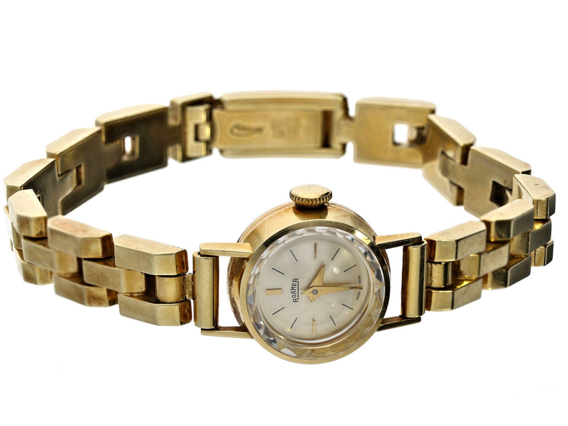 Armbanduhr: vintage Damenuhr der Marke Roamer, 14K GoldCa. Ø17mm, ca. 16,5 lang, ca. 23g, 14K