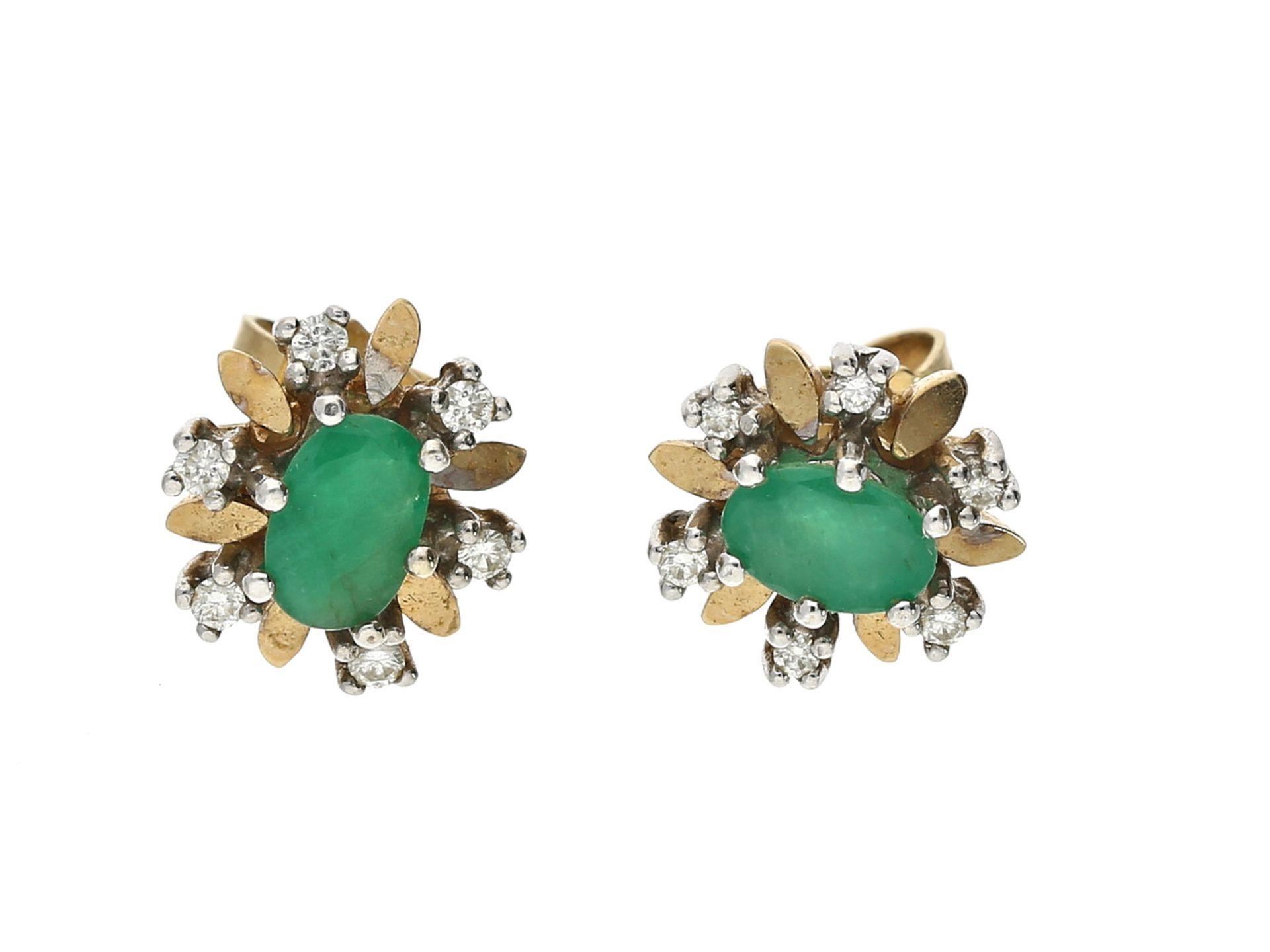 Ohrschmuck: vintage Smaragd/Brillant-OhrsteckerCa. 4,2g, 14K Gold, Stopper ebenfalls, jeweils