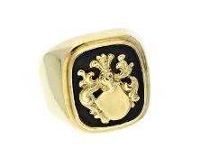 Ring: ausgefallener vintage Siegelring mit OnyxplatteCa. Ø18,5mm, RG59, ca. 9g, 14K Gold, Ringkopf