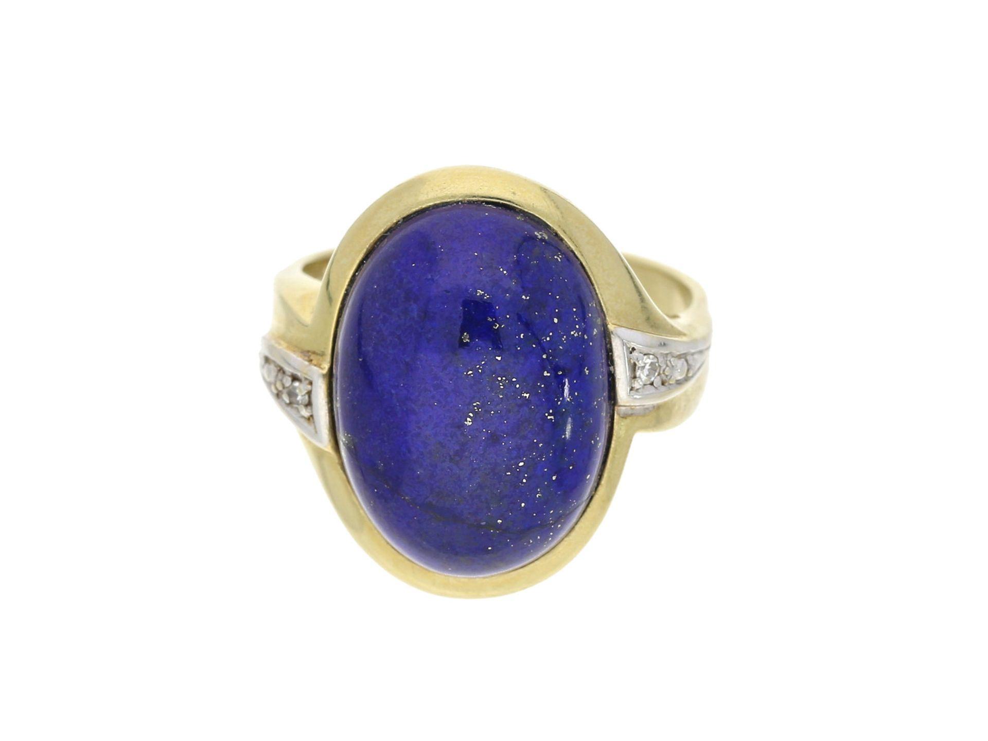 Ring: schwerer vintage Goldschmiedering mit Lapislazuli/Diamant-Besatz, 14K GoldCa. Ø18,5mm, RG59,