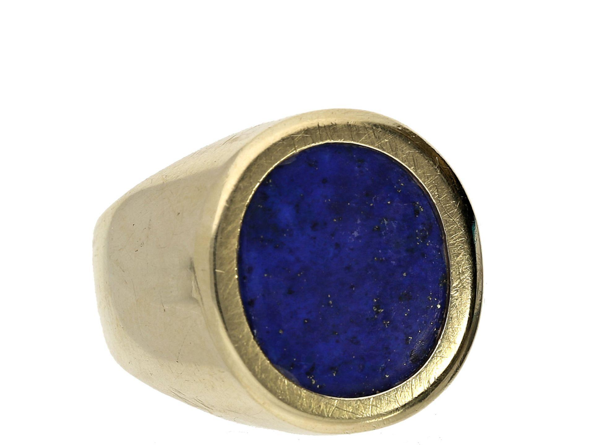 Ring: vintage Herrenring mit LapislazuliCa. Ø20mm, RG62, ca. 12,5g, 14K Gold, schauseitig ca. 19mm