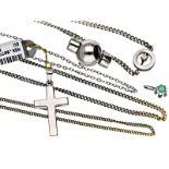 Kette/Armband/Anhänger: Konvolut Platin/Goldschmuck, überwiegend ungetragen, aus Goldschmiede-