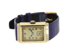 Armbanduhr: seltene, große frühe Herrenuhr von Omega aus dem Jahr 1935Ca. 23 × 33mm, 14K Gold,