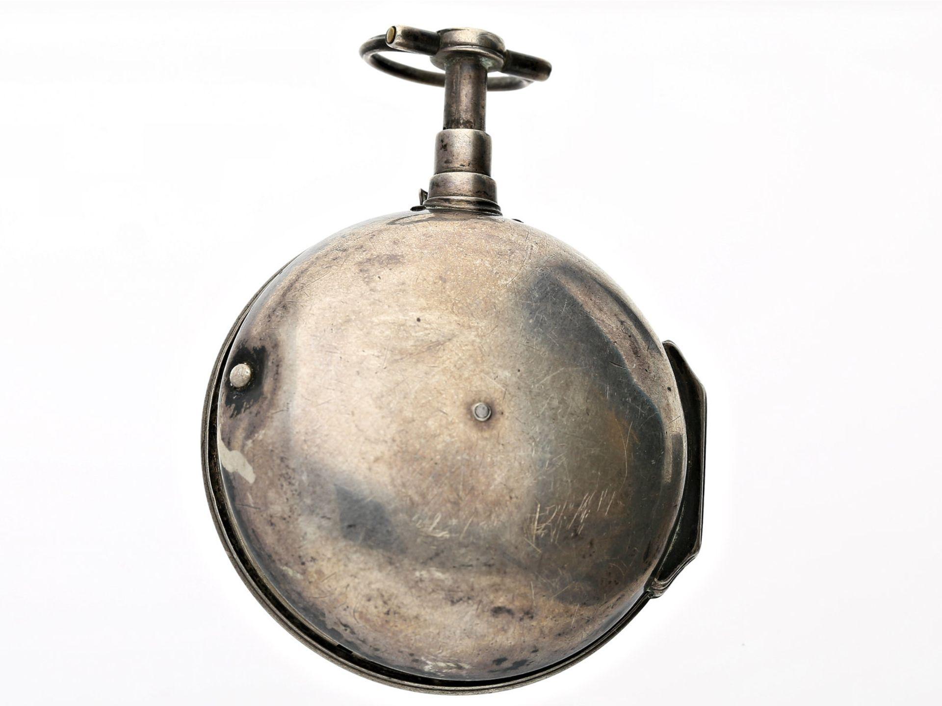 Taschenuhr: frühe Spindeluhr mit Repetition, signiert Drox, Frankreich um 1780Ca. Ø42mm, - Bild 3 aus 3