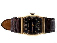 """Armbanduhr: ausgesprochen schöne und seltene Longines Herrenuhr """"Tonneau"""" von 1947, 14K GoldCa. 25 ×"""