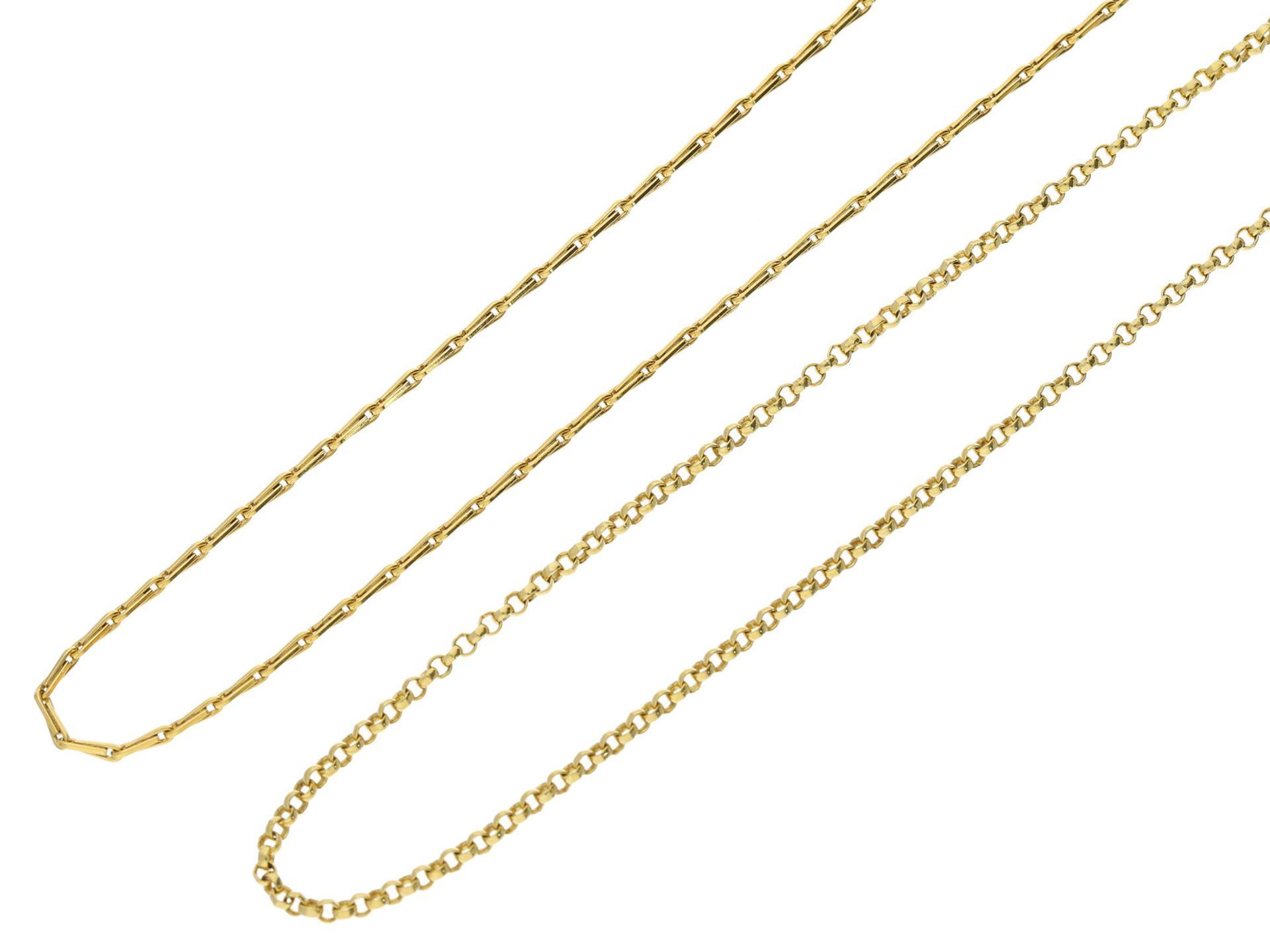 Kette/Collier: 2 ungetragene Collierketten aus 14K GoldGesamtgewicht ca. 9,2g, 14K Gelbgold,