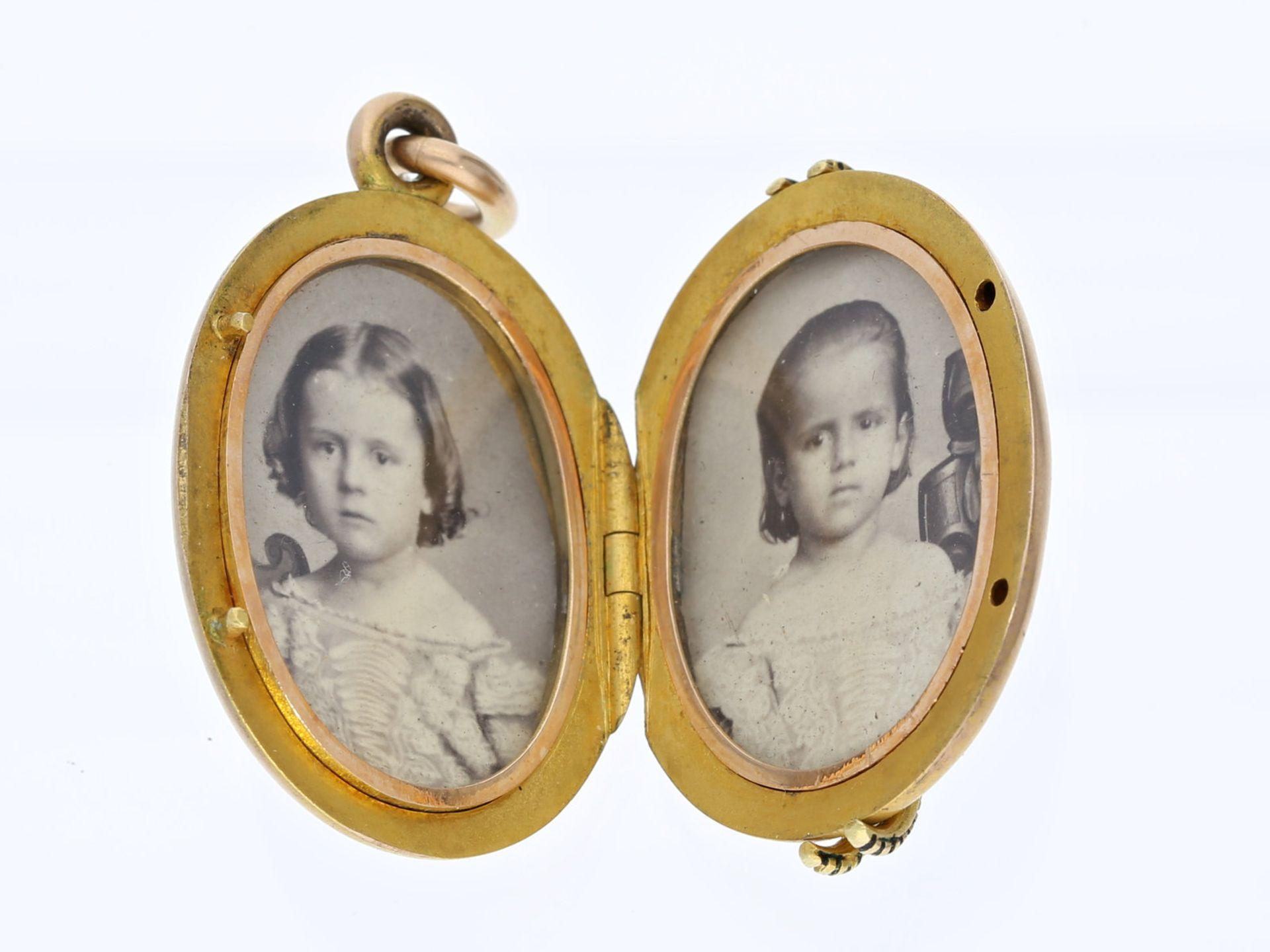 Anhänger: hochwertiger, antiker Medaillonanhänger, 19. JahrhundertCa. 36 × 24mm, ca. 14,2g, 14K - Bild 2 aus 2