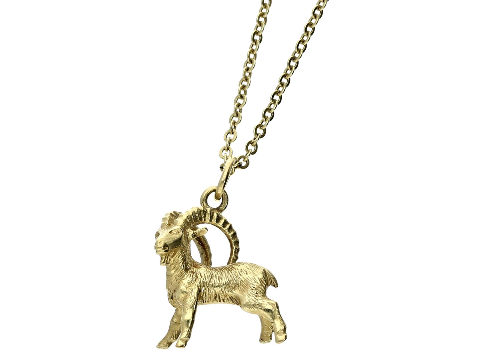 "Kette/Anhänger: feine Goldkette mit Anhänger ""Steinbock""Ca. 70cm lang, 14K Gold, Ankermuster,"