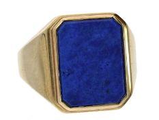 Ring: sehr massiver Herrenring mit schönem LapislazuliCa. Ø20mm, RG62, ca. 16,2g, 14K Gold, Ringkopf