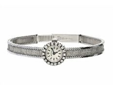 Armbanduhr: vintage Diamantuhr mit außergewöhnlicher, längenverstellbarer Patentschließe, 18K