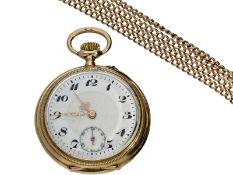 Taschenuhr/Kette: goldene, deutsche Taschenuhr/Halsuhr mit außergewöhnlich langer Goldkette, D.A.