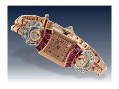 Armbanduhr: extrem seltene und dekorative rotgoldene Art déco Damenuhr von Longines, besetzt mit