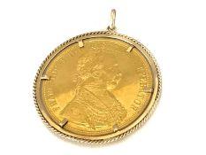 Münzanhänger, 4 Dukaten Österreich 1915Ca. Ø46mm, Handarbeit, ca. 18,1g, Goldmünze 986er Gold,