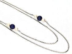 Kette/Collier: weißgoldene vintage Venezianerkette mit Perlen/LapiskugelnCa. 81cm lang, ca. 2mm