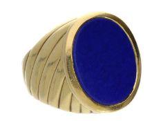 Ring: sehr breiter, aufwändig verzierter vintage Herrenring mit LapislazuliCa. Ø20mm, RG63, ca. 17,