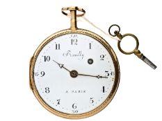 Taschenuhr: große und schwere französische Spindeluhr, um 1800,18K Gold, Romilly a Paris No. 4582Ca.