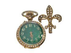 Taschenuhr/Anhängeuhr/Broschenuhr: hochfeine Art Nouveau Emaille-Uhr mit Perlen-und Diamantbesatz,