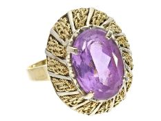 Ring: vintage Goldschmiedering mit Amethyst, ca. 1950Ca. Ø18mm, RG56, ca. 8,4g, 18K Gold, Amethyst