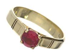 Ring: vintage Goldschmiedering mit einem pinkfarbenen Farbstein, verm. TurmalinCa. Ø20,5mm, RG65,