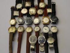Armbanduhr: interessantes und großes Konvolut vons mechanischen vintage Herren-Armbanduhren,