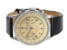 """Armbanduhr: ganz früher Chronograph mit ovalen Drückern, vermutlich Rolex Ref.2508 """"37,5mm-oversize"""""""
