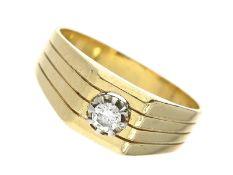 Ring: vintage BrillantringCa. Ø19,5mm, RG61, ca. 7,6g, 18K Gold, massive, im Verlauf gefertigte