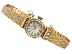 "Armbanduhr: goldene vintage Damenuhr der Marke ""Dichiwatch"", 18K Gold, um 1950Ca. Ø17mm, ca. 18cm"