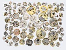 Uhren/Zubehör: großes Konvolut Uhrwerke aus Uhrmachernachlass, um 1900 bis ca. 1980, dabei Omega,