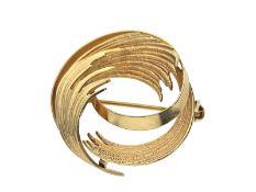 Brosche: vintage Goldschmiedebrosche, HandarbeitCa. Ø26mm, ca. 5,4g, 14K Gold, rückseitig