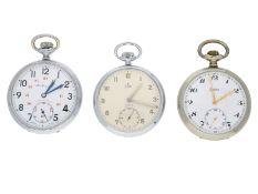 Taschenuhr: Konvolut von 3 sehr schön erhaltenen Taschenuhren, ca.1930-1950, Henry Moser, Stowa &
