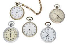 Taschenuhr: Konvolut von 5 alten Taschenuhren/Stoppuhren, ca. 1920-1950Unterschiedliche Materialien,