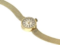 Armbanduhr: goldene Damenuhr, Tissot, 50er JahreCa. 19,5cm lang, ca. 19g, 14K Gold, ca. Ø16mm,