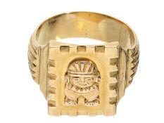 Ring: ausgefallener und massiver vintage GoldschmiederingCa. Ø21mm, RG66, ca. 17,5g, 18K Gold,