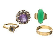 Ring: kleines Konvolut aus 3 vintage Goldschmiederingen und einem Modeschmuck-RingKonvolut bestehend