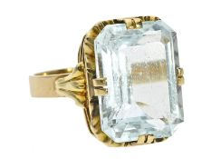 Ring: schöner vintage Goldschmiedering mit AquamarinCa. Ø17,5mm, RG55, ca. 6,9g, 14K Gold, besetzt