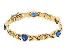 Armband: dekoratives vintage Goldschmiedearmband mit blauen Farbsteinen in HerzformCa. 18,5cm